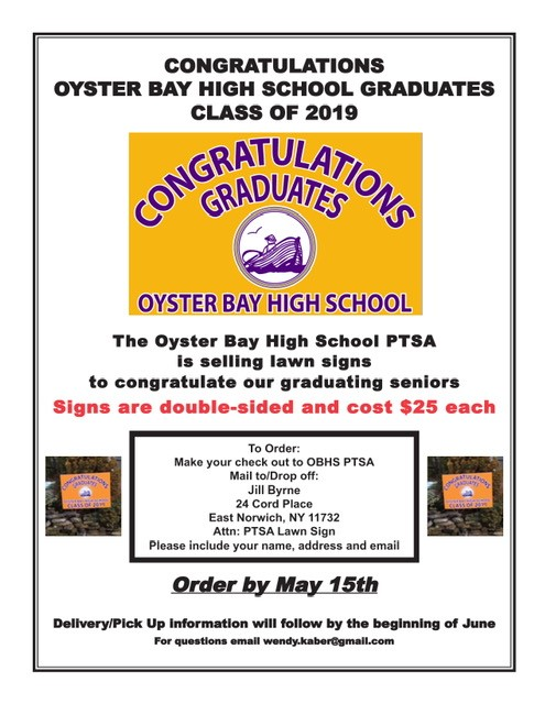 PTSA flyer selling congratulatory signs for seniors