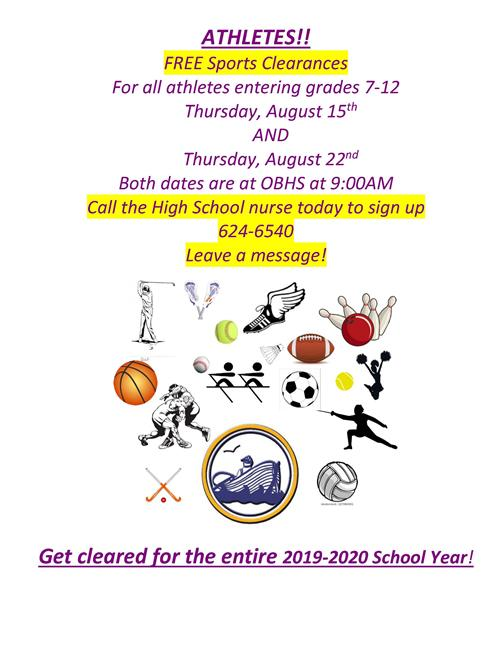Sports clearances for 7-12 graders on 8-15 and 8-22