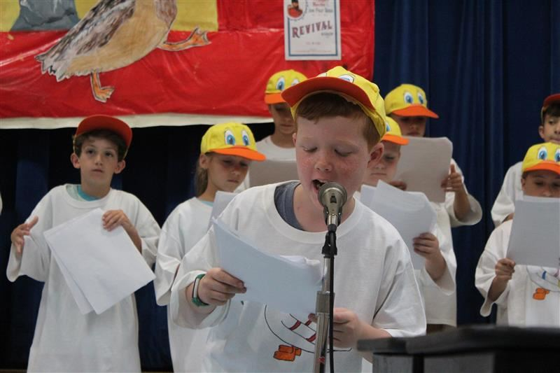 2nd graders perform a readers' theater to the book, John Philip Duck