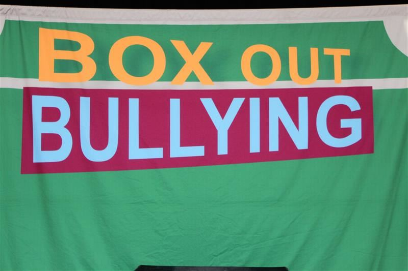 Box Out Bullying banner used for assembly
