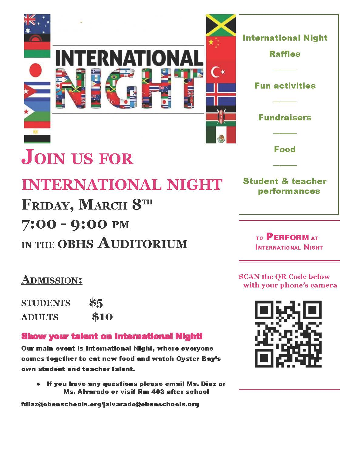 International Night is March 8