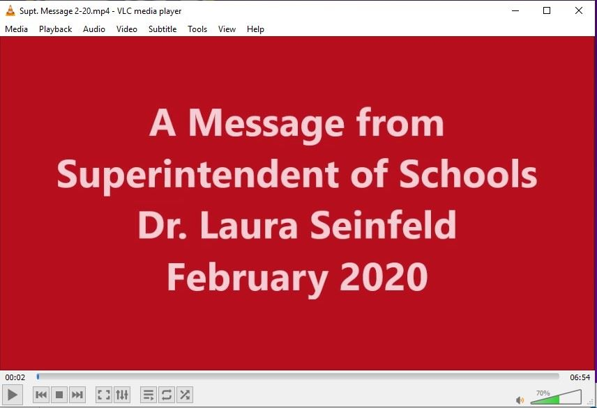 Superintendent's video message for February