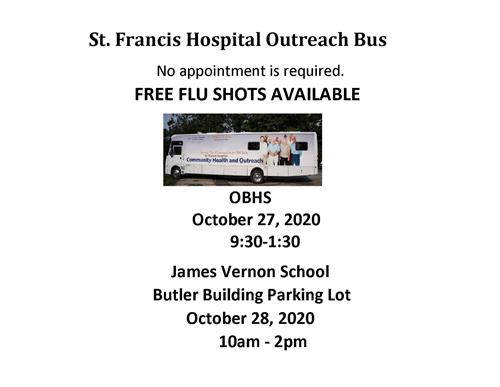 St. Francis outreach bus at OBHS and Vernon