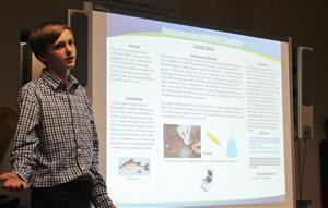 Connor Wick explains his project on environmental DNA fish tracking