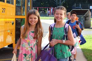 two girls arrive at Vernon on first day of school