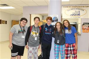 students dressed in pajamas for Spirit Week