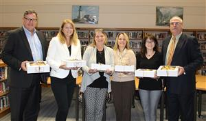 Board of Ed is given pies for Board of Ed Recognition Week