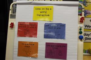 "Board with word strategies called ""How to be a Word Detective"""