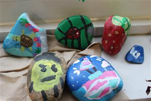 rocks with strawberry and turtle