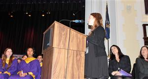 honorary NHS member delivers speech