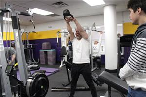 Dr. Rufa works with kettlebells