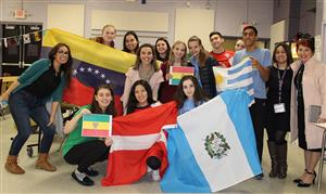 International Night-students and teachers with flags