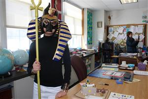 student dressed as a Greek god