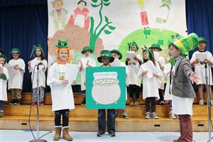 Roosevelt 2nd grader perform a Readers' Theater on Irish Folklore