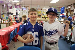 third graders portraying sports figures