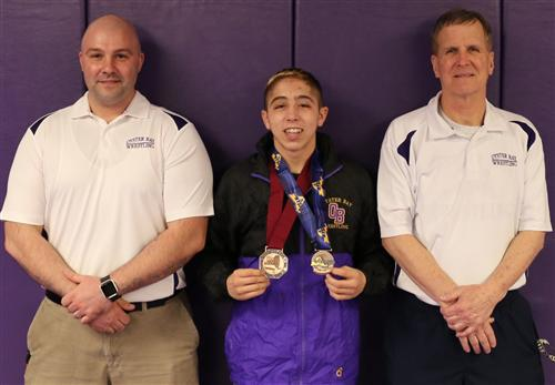 Coach John Brush, All-State Wrestler Keith Cassar and Coach Doug Axman