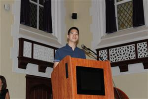 Student Council President Jason Hom speaks at Superintendent's Conference Day