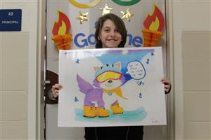 Student with Olympic-themed artwork