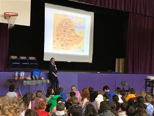 "Author Christine Ieronimo talks about her book ""A Thirst for Home"" to Vernon students"