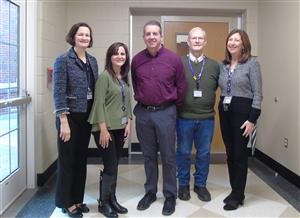 Mr. Halligan with staff before he presented Ryan's Story