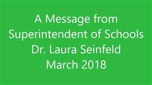 Graphic for Superintendent's monthly video message