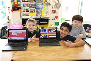 students in Ms. Ghicas class show their American Revolution project