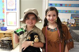 third graders dressed as Jane Goodall and Sacagawea
