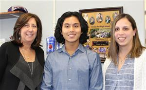 National Merit Finalist with principal and guidance counselor