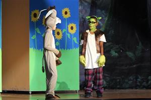 Shrek and the donkey from the purple cast of Shrek, Jr.